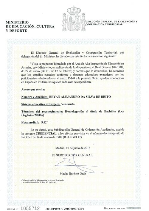Homologacion de Titulos de Bachiller en España
