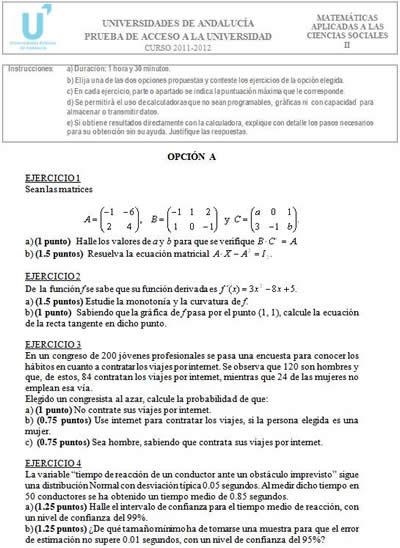 Matemáticas Aplicadas A Ciencias Sociales Examen Selectividad